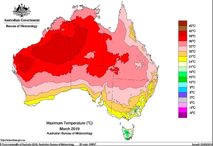 Tempeartura maxima australia marzo